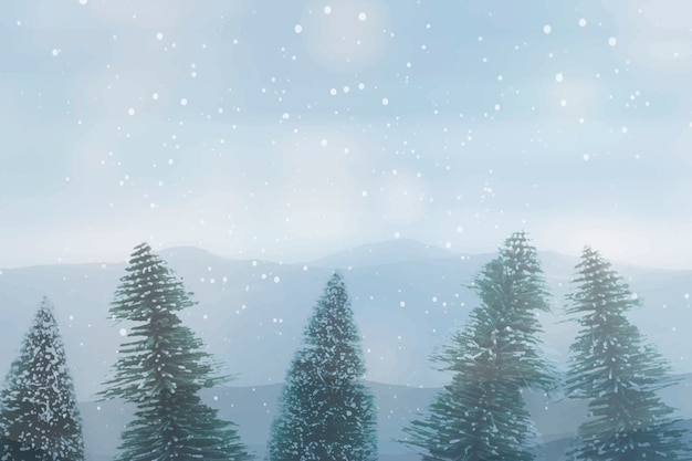 Snowy pine tree, winter forest over sky background