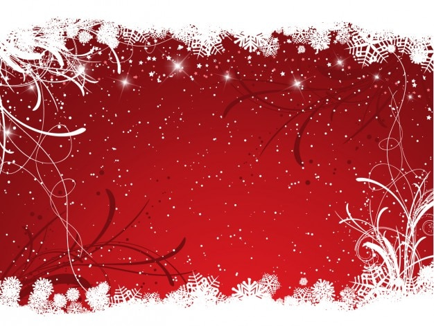 Snowy red christmas background