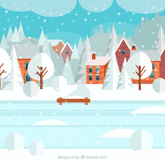 Snowy village with an iced lake illustration