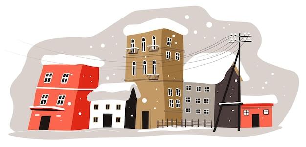 Снежная погода в деревне или городе. зимний городской пейзаж со снежной метелью и зданиями, засыпанными снегом. городская улица с метелью, зимний вид на горизонт в декабре. вектор в плоском стиле