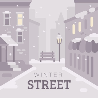 Snowy winter city street flat illustration. monochrome winter background with text