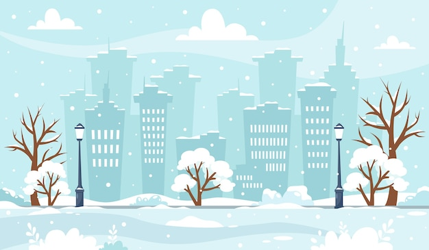 Snowy winter cityscape with trees buildings park