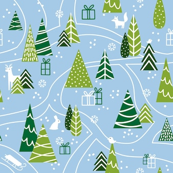 Snowy winter forest with trees and animals cute seamless pattern