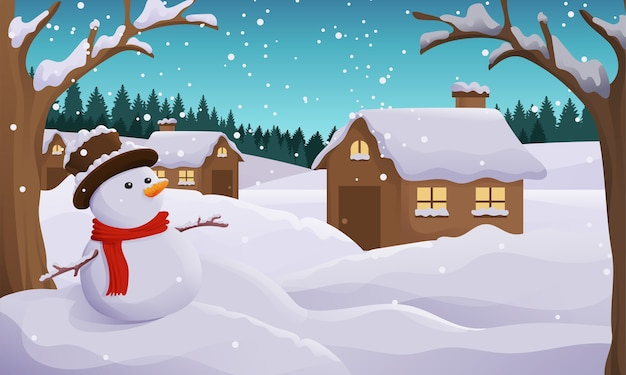 Снежный зимний пейзаж иллюстрация со снеговиком, елью и мертвым лесом