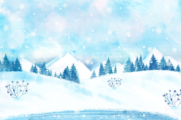 Snowy winter landscape wallpaper