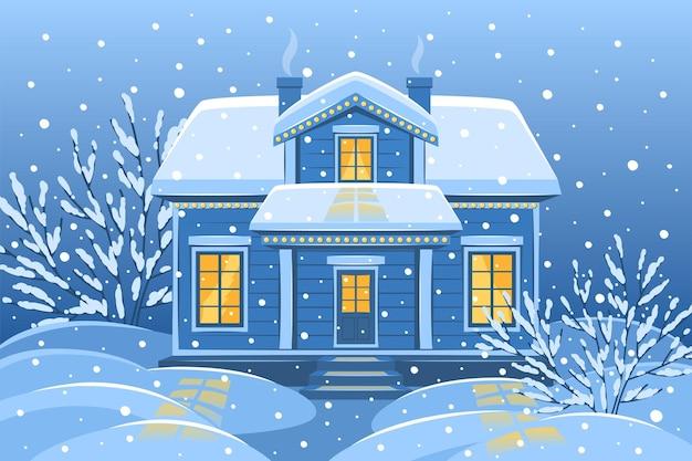 Снежный зимний пейзаж с загородным домом и деревьями
