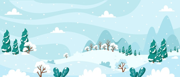 Снежный зимний пейзаж с деревьями ели горы, поля