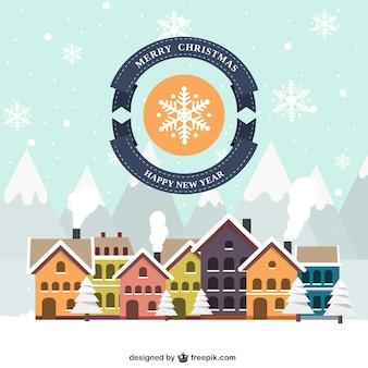 Carta villaggio inverno nevoso