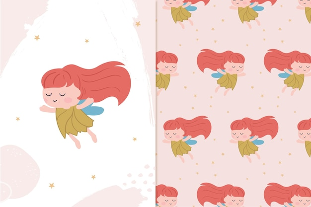 とてもかわいい妖精とシームレスなパターン