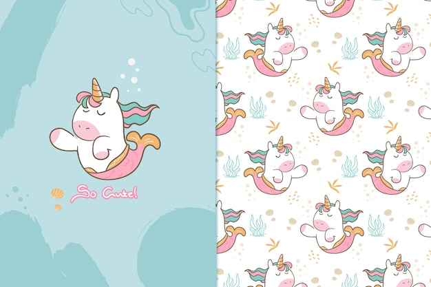 So cute unicorn mermaid seamless  pattern