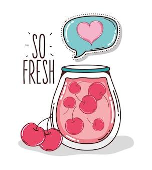 So fresh cherry juice glass cup cartoons