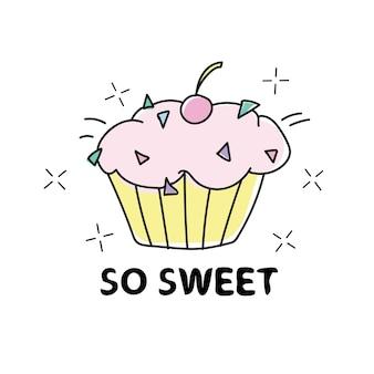 So sweet 컵케익 일러스트 디자인 - 섬유 그래픽 프린트