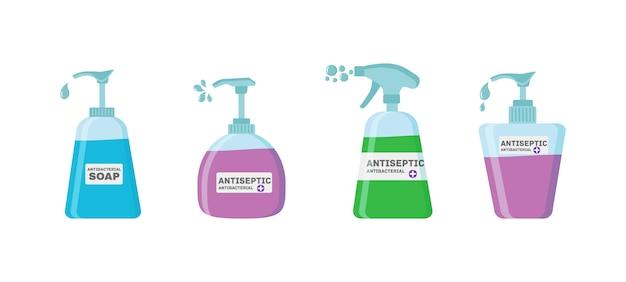 石鹸、防腐剤ゲルおよびコロナウイルスからの他の衛生製品。フラスコ内の防腐剤スプレーは細菌を殺します。衛生アイコンセット。抗菌コンセプト。アルコール液体、ポンプスプレーボトル。ベクトル図