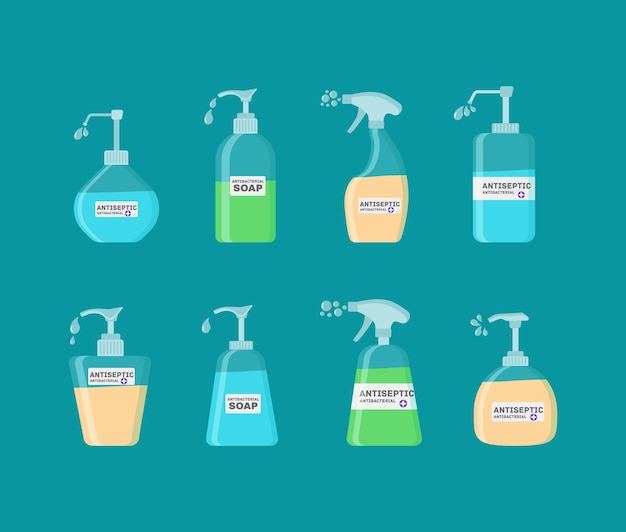 Soap, antiseptic gel and other hygienic products. antiseptic spray in flask kills bacteria. hygiene icons set. antibacterial concept. alcohol liquid, pump spray bottle.