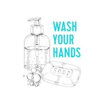 Soap bar and dispenser with liquid detergent, retro hand drawn illustration.