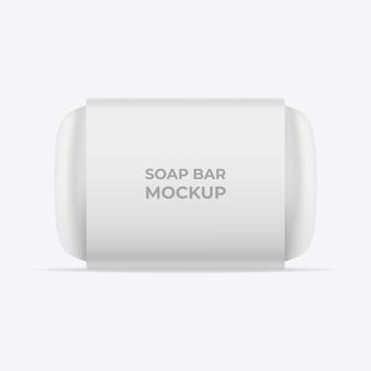 Soap bar mockup. blank white paper sleeve packaging