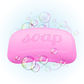 Soap bar with bubbles -  illustration.