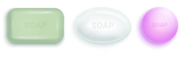 Soap bar with foam and bubbles isolated vector illustration on white background. soap foam for lather.