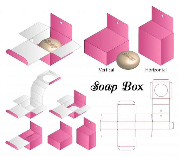 Soap box packaging die cut template design.