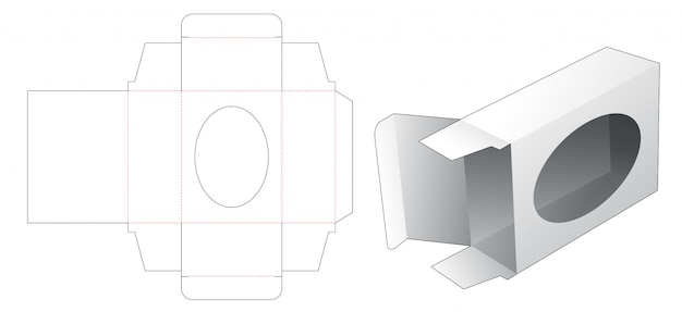 Soap box with window die cut template