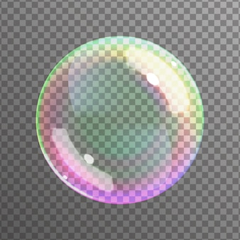 Soap bubble on black background.