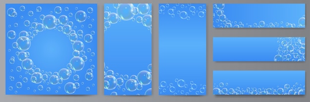 Soap bubble  on blue background. banners of transparent foam bubble, great design for social media and print.