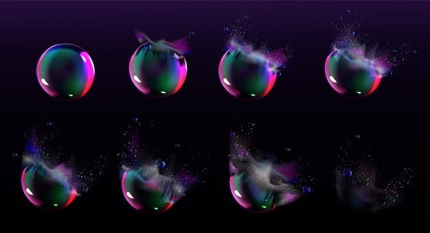 Спрайты взрыва мыльных пузырей для игры или анимации