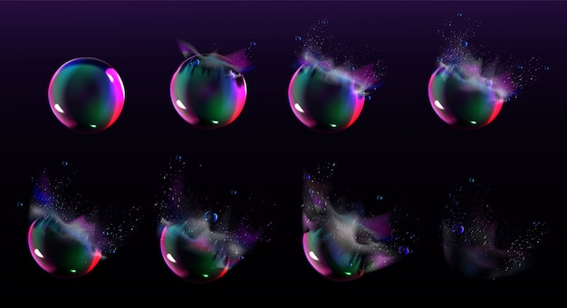 Soap bubble burst sprites for game or animation
