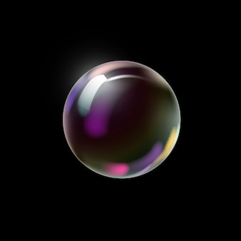 Soap bubble on a dark background.