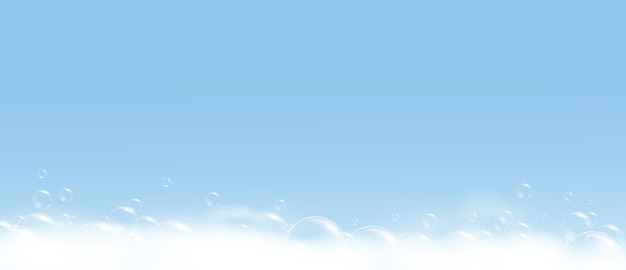 Пена мыльного пузыря на синем фоне