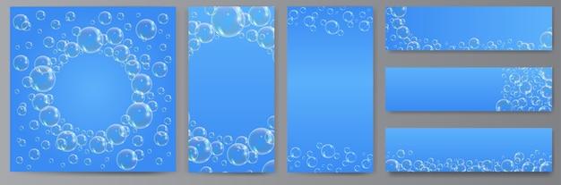 青の背景にシャボン玉。透明な泡の泡のバナー、ソーシャルメディアや印刷用の素晴らしいデザイン。