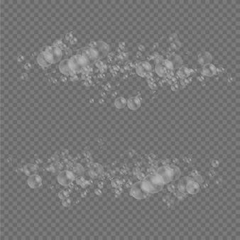 反射のある透明でリアルなカラフルな白い水の泡の石鹸泡セット