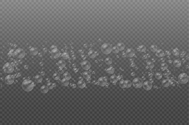 Soap bubble set of transparent realistic colorful white water bubbles with reflection Premium Vector