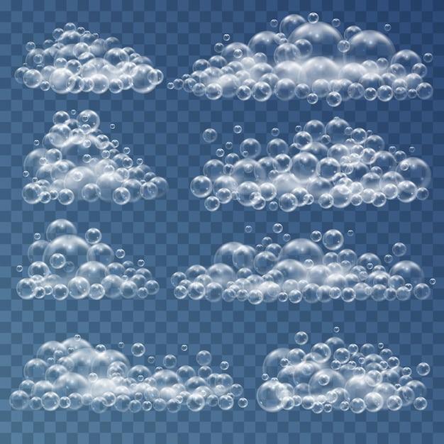 Полоски мыльных пузырей реалистичные 3d шары из воды, мыла и шампуня