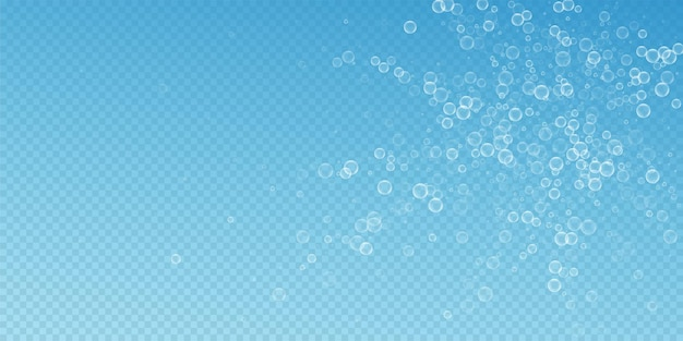 Soap bubbles abstract background. blowing bubbles on blue transparent background. breathtaking soapy foam overlay template. elegant vector illustration.