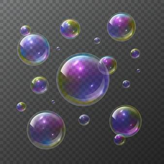 Мыльные пузыри. абстрактный пена пузырь шампунь прозрачное мыло радуга мыть пузырящиеся блестящие пузырьковые текстуры изолированные набор