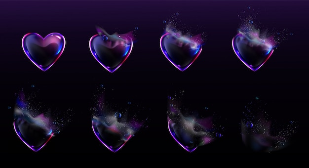 Soap bubbles heart shape burst sprites animation