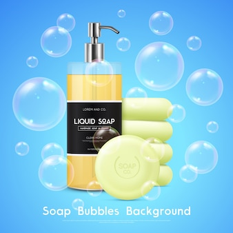 Soap bubbles realistic background poster
