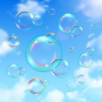 Soap bubbles and sky realistic background with sun shining
