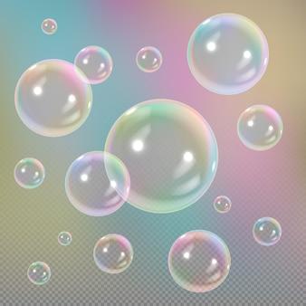 Soap bubbles on transparent