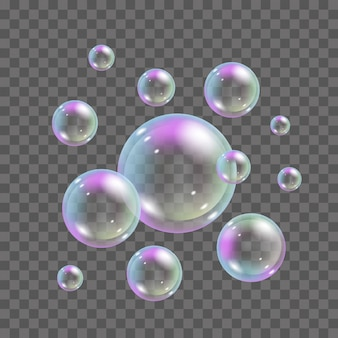 Soap bubbles with rainbow colors on transparent background. 3d realistic flying foam bubbles set - illustration