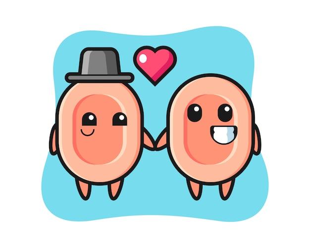 사랑 제스처, 티셔츠, 스티커, 로고 요소에 대 한 귀여운 스타일에 빠지는 비누 만화 캐릭터 커플