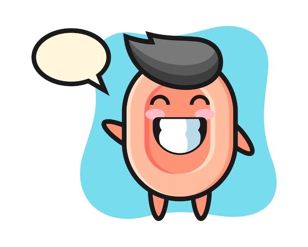波の手ジェスチャー、tシャツ、ステッカー、ロゴの要素のかわいいスタイルを行う石鹸の漫画のキャラクター
