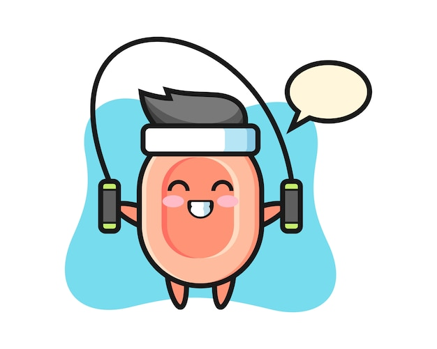 Soap character cartoon with skipping rope , cute style  for t shirt, sticker, logo element