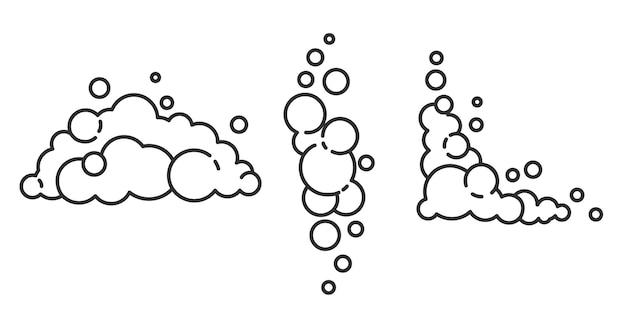Soap foam cloud with bubbles. illustration of suds, foam, smoke, shampoo, gel and cleanser.
