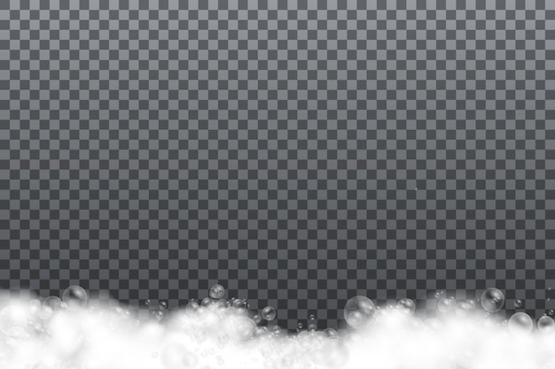 Soap foam isolated on transparent background.
