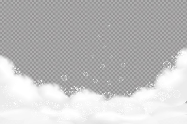 青い水彩画の背景の上にある石鹸の泡。透明なフレーム。