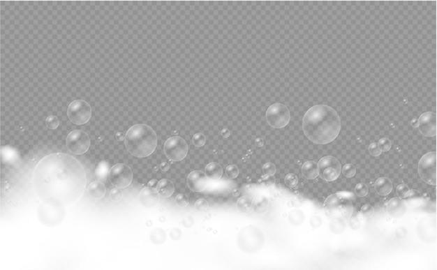 Soap foam set of bath foam with shampoo bubbles soap gel or shampoo