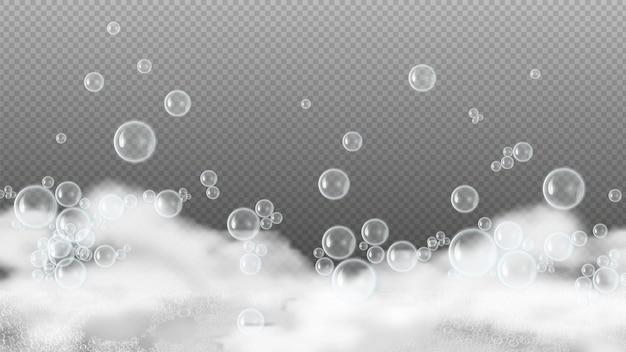 비누 거품. 하얀 비눗물, 반짝이는 물 거품. 샴푸 또는 샤워 젤 거품이 투명 배경에 고립