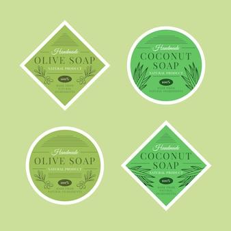 Etichette di sapone con confezione di foglie